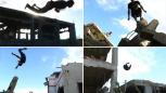 Skoki i akrobacje na gruzach budynków. Parkour w Strefie Gazy