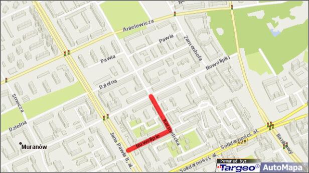 Czerwoną linią zaznaczone ulice bez parkomatów tvn24.pl