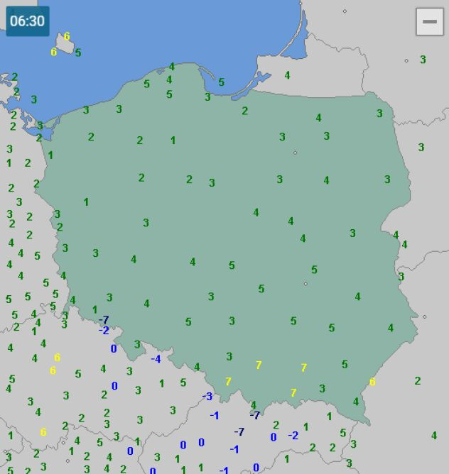 Temperatura w Polsce 15 grudnia o godzinie 6.30 (wetteronline.de)