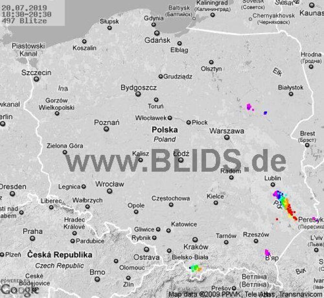 Ścieżka burz nad Polską (18.30-20.30) (blids.de)