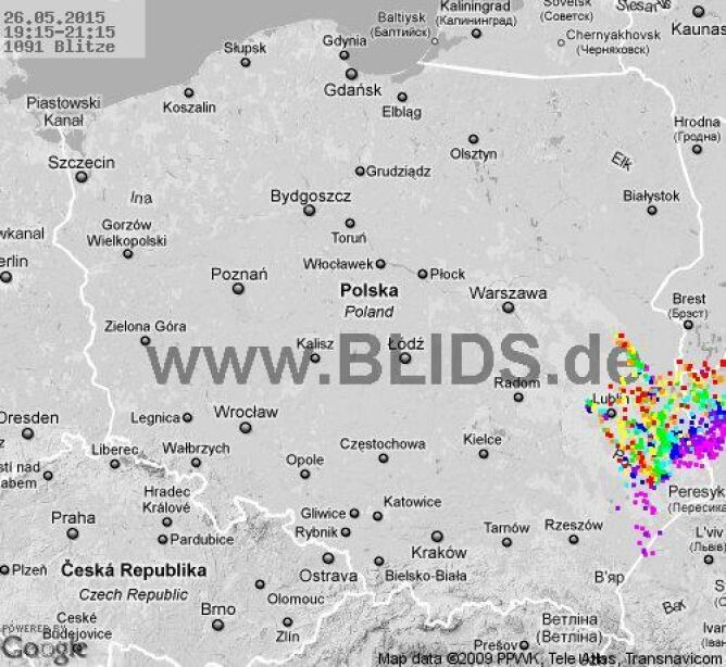 Wyładowania atmosferyczne nad Polską o godzinie 21.15