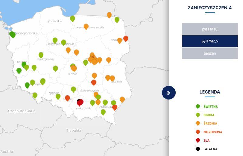 Stężenie pyłu PM2,5 o godzinie 6 (tvnmeteo.pl za GIOŚ)